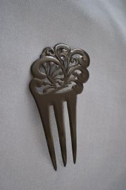 Art Nouveau Hair Comb in Black Celluloid - Edwardian Hair Accessory circa 1910  (SOLD)